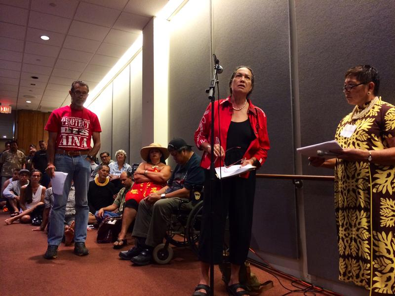 Hawaiian activist Mililani Trask testifies at the public meeting held by officials from the Department of Interior.