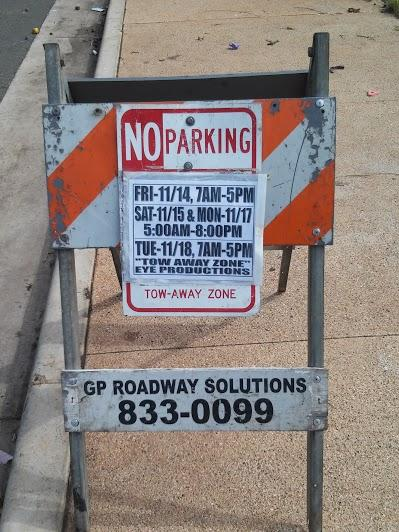 """No Parking"" signs were placed after the city sweep, for ""Hawaii Five-0"" filming that will take place over the weekend."