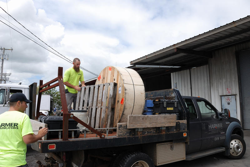 Loading up the transmission line in Hilo for the new Kulani Cone antenna