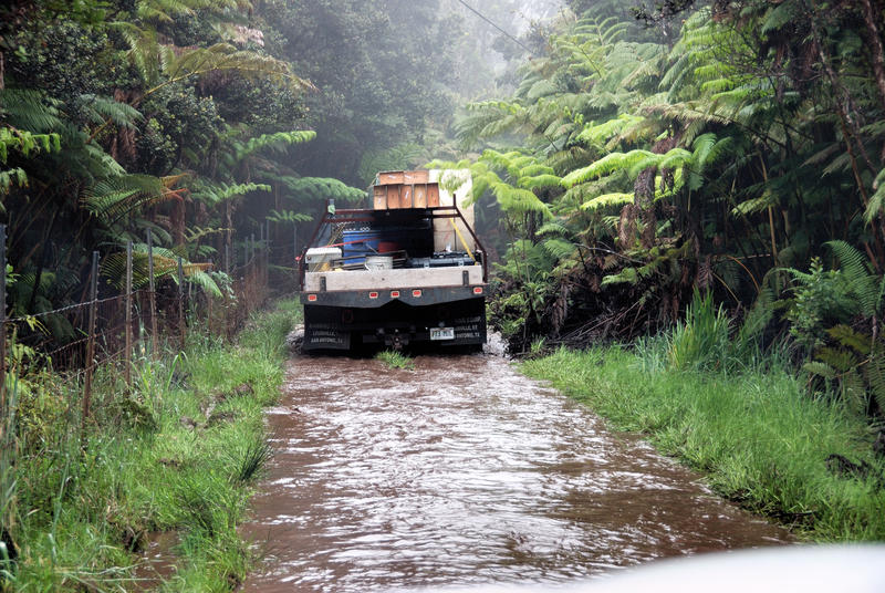 A typical day on the road to Kulani Cone