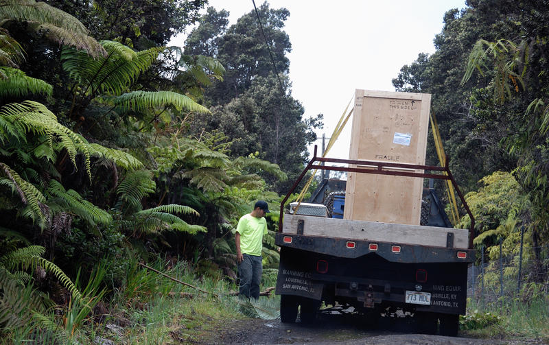 Crates of transmitters on the road to Kulani Cone
