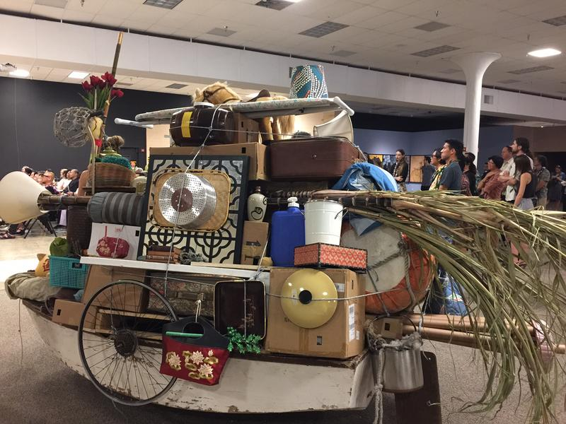 Alfredo and Isabel Aquilizan (Philippines/Australia).Crossings:  Project Another Country.  Used boats, domestic objects.  These boats reflect on the Aquilizans' connection to Filipino immigrants who came to Hawai'i to work on the cane fields on Maui.  At
