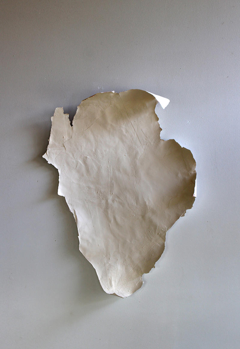 Jan Dickey. paint thing I. Reclaimed paper, rabbit skin glue, and milk paint.