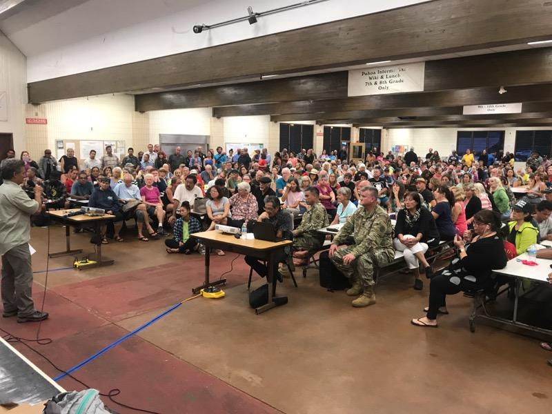 Residents attend a community meeting held at the Pāhoa Community Center on May 7th