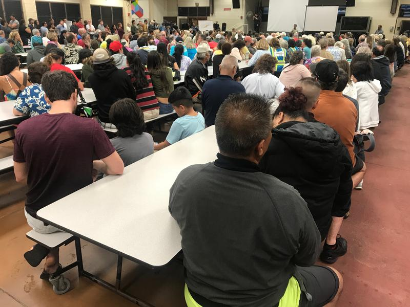 Residents attend a community meeting hosted by Hawaii County officials on May 7th