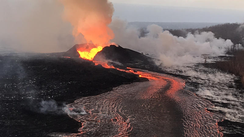 Lava continues to erupt at a high rate from Fissure 8 and flow within the established channel to the ocean. The fountains have built a horseshoe-shaped cone as lava fragments are intermittently hurled onto and over the growing rim.