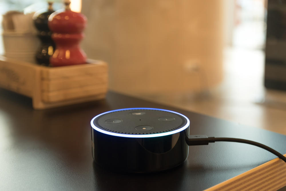 An Echo Dot at home