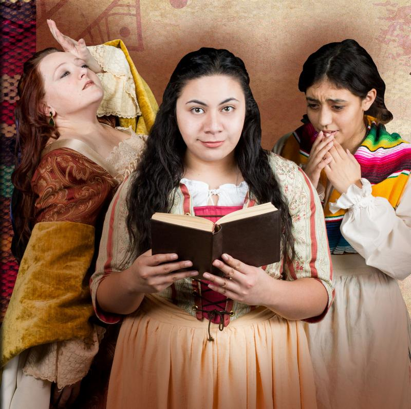 "Sarah Traywick, Fiva Pulu and Amelia Resendez in ""The Tenth Muse."""