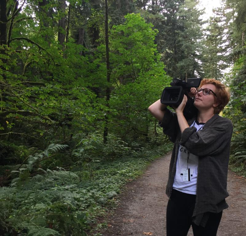 51st Humboldt International Film Festival Co-Director Maddy Harvey at a shoot for a wildlife filmmaking course last semester.