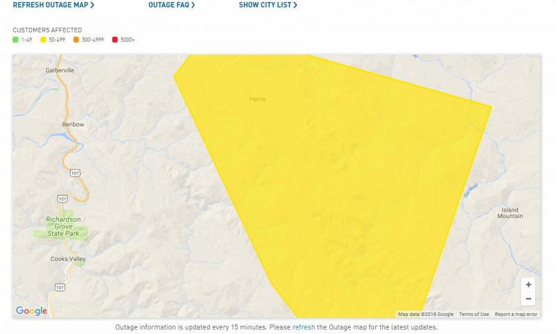 The area affected by a power outage in Southern Humboldt