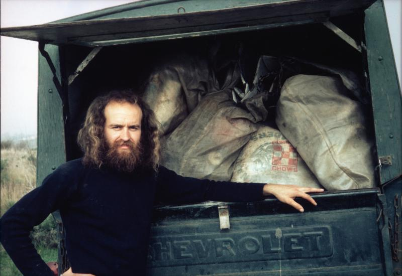 Greg Abbott with some of the trash cleaned from beaches in 1977.
