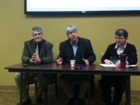 UNO professors Moshe Gershovich, Curtis Hutt, and Ramazan Kilinc spoke at a forum last week on the Middle East.