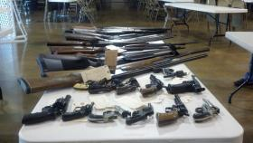 These firearms are among the weapons and ammunition turned in Saturday at OPD's gun amnesty day.