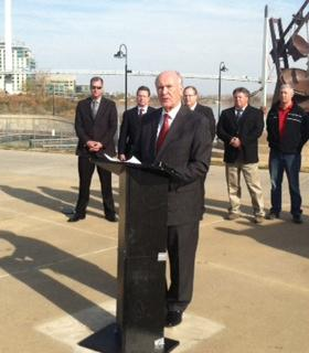 Omaha Mayor Jim Suttle and U.S. Army Corps of Engineers officials announced Friday that levee repairs are nearly complete following last year's Missouri River flooding.