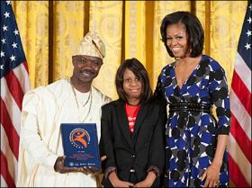 Charles Ahovissi with Victoria Beaugard and First Lady Michelle Obama, Official Photo