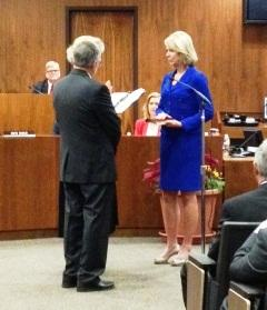 Omaha Mayor Jean Stothert takes the oath of office at City Hall Monday night.