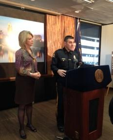Omaha Mayor Jean Stothert, Police Chief Todd Schmaderer, and Police Union president John Wells announce the Citizen Complaint Review Board Friday.