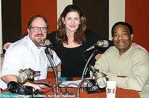 KIOS Jazz host Chris Cooke with Dawn DeBlaze and Norman Hedman. Photo Credit: Mike Hansen/KIOS.
