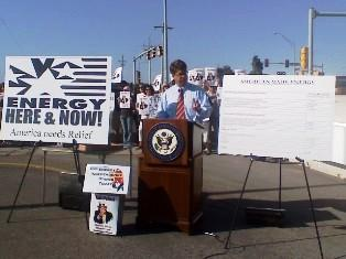 Congressman Lee Terry speaks at an energy rally Tuesday in Omaha.