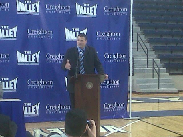 Greg McDermott speaks at a news conference Tuesday morning at Creighton University.