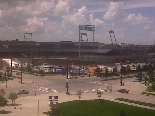 A view of TD Ameritrade Park from the roof of Qwest Center Omaha.