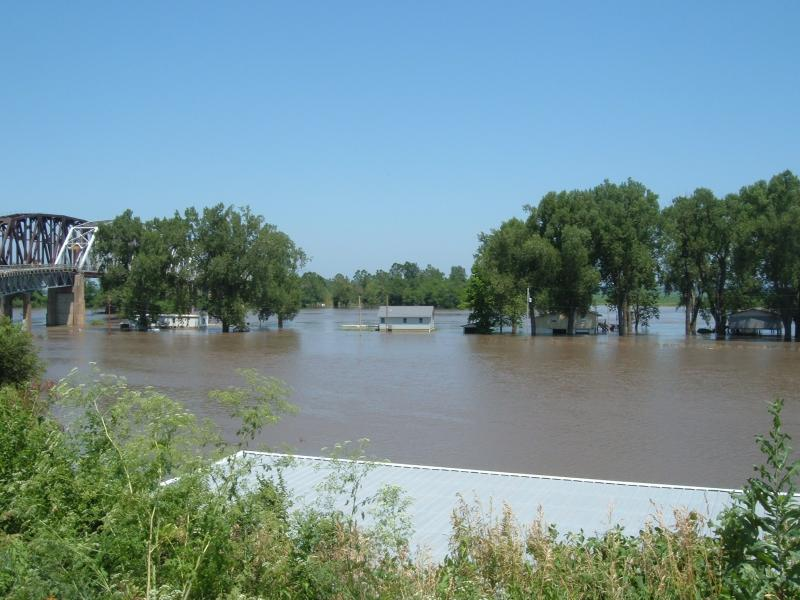 Cabins are under water at Rulo as the Missouri River remains well above flood stage.