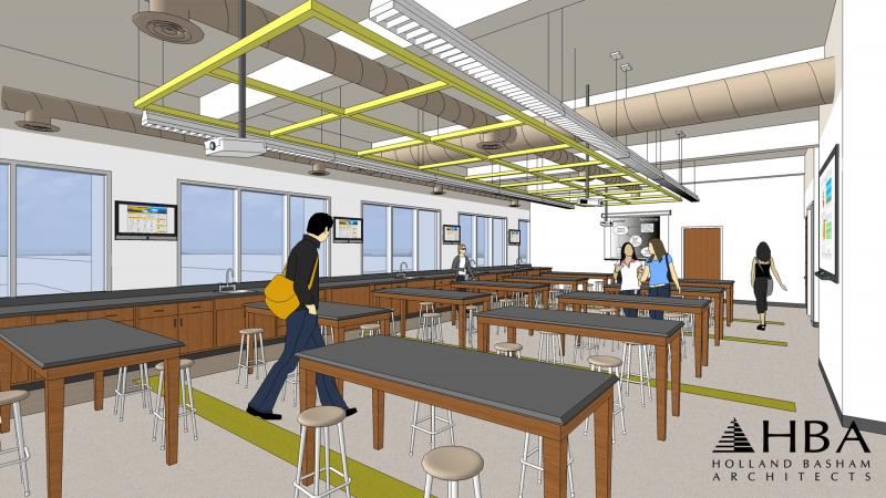 A rendering of Roskens Hall when its $13.7 million renovation is complete.