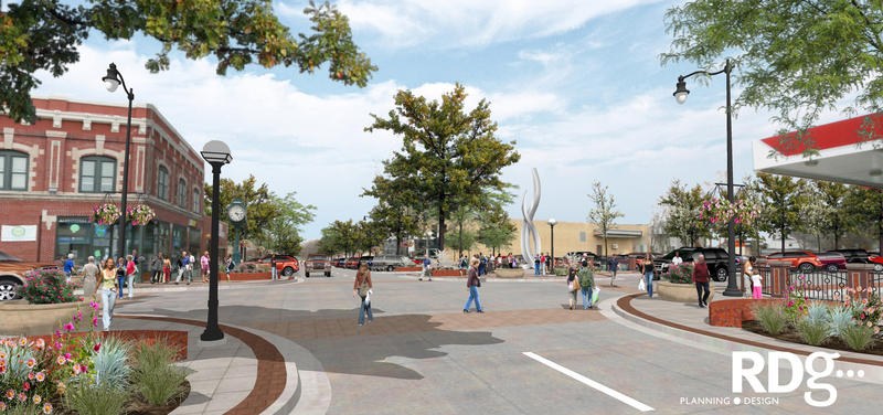 An image of the planned Dundee restoration, with new landscaping and sidewalks.