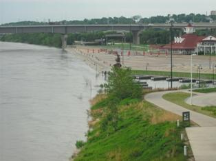 The Missouri River flooded the Omaha riverfront during the summer of 2011.