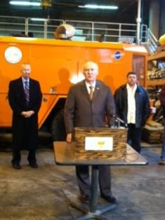 Mayor Jim Suttle and Public Works officials update snow removal efforts during a news conference Tuesday.