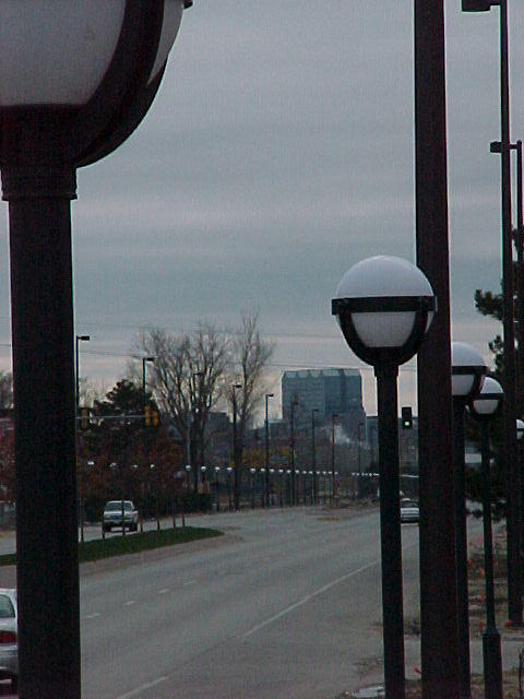 """Omaha's """"string of pearls"""" light a three-quarter mile stretch of Abbott Drive."""