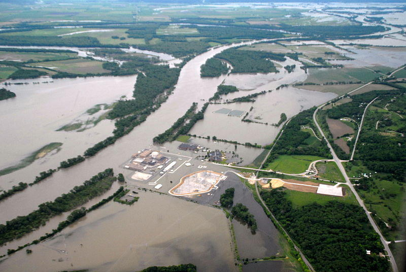 An aerial image of Missouri River flooding north of Omaha last summer.