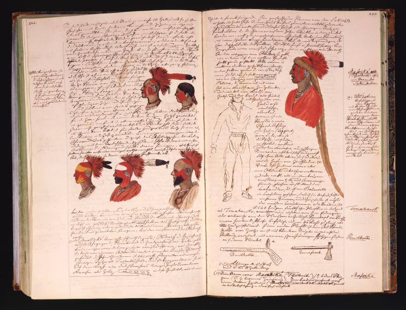 Volume 1 of Maximilian's Original Journals, Open to Pages 224-225, Showing the Prince's Colorful Depictions of the Sauk and Meskwaki Indians He Met in St. Louis, March 1833