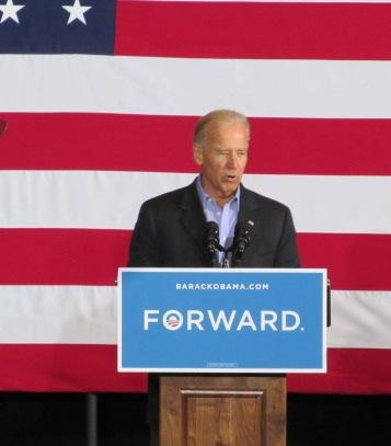 Vice President Joe Biden speaks to supporters at a campaign rally in Council Bluffs Thursday afternoon.