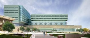 A rendering of the UNMC Cancer Center campus.