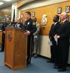 Omaha Police Chief Todd Schmaderer announced Tuesday the arrests of six people in connection with two homicides.