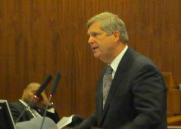 Agriculture Secretary Tom Vilsack speaks at a USDA regional meeting Tuesday in Omaha about the drought.