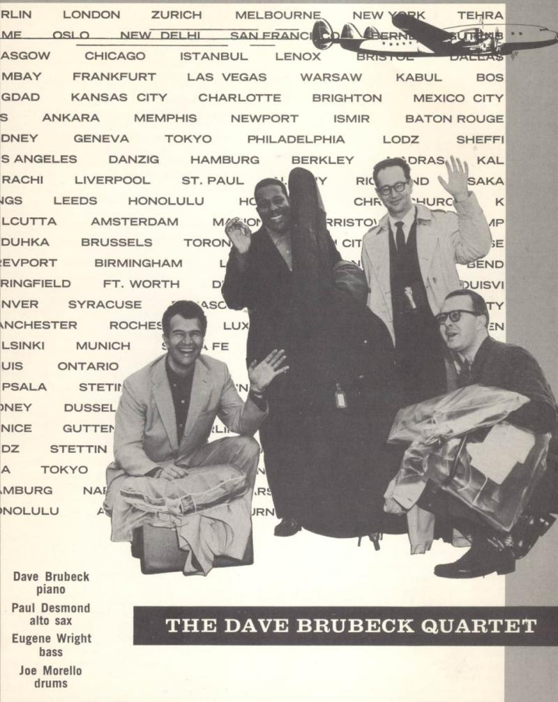 From a concert program from the 1960s. (Left to right) Dave Brubeck, Eugene Wright, Paul Desmond, Joe Morello)