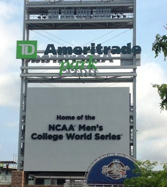 The TD Ameritrade Park sign welcomes visitors and fans to Omaha for the CWS.