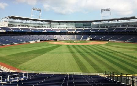 The view from the Concourse, Section 131 as final preparations are made at TD Ameritrade Park Omaha.