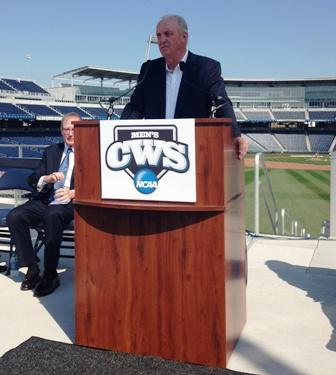 NCAA VP of Championships and Alliances Dennis Poppe speaks Wednesday at a news conference on the CWS.