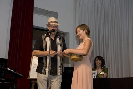 MC Michael Lyon and Chelsea Balzer draw the first contestant names