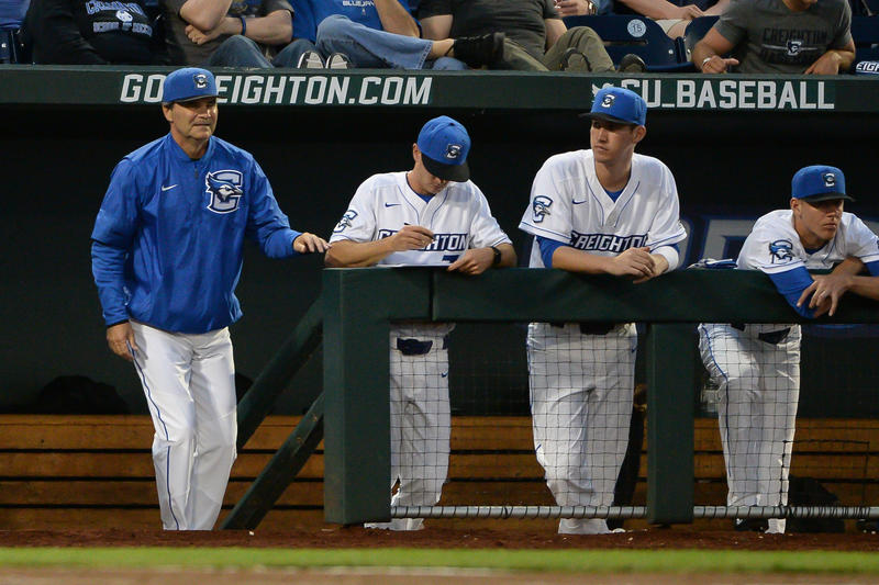 Ed Servais (far left) completed his 14th season as the Creighton Bluejays head coach.  Previously he was an assistant at Iowa St. which no longer fields a baseball team.