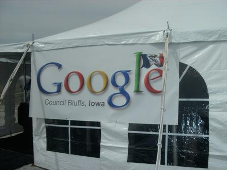 A Google Council Bluffs sign welcomes officials to the groundbreaking.