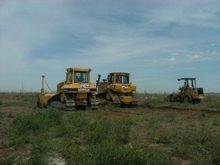 Crews move in to position to break ground for the new data center.