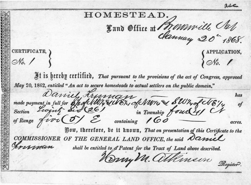 A certificate showing land ownership under the Homestead Act.