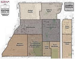 A map of Omaha's midtown neighborhoods.