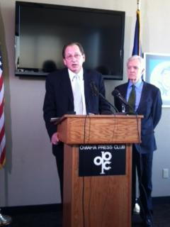 Nebraska Regent Chuck Hassebrook and Senate candidate Bob Kerrey speak at a news conference Thursday in Omaha.