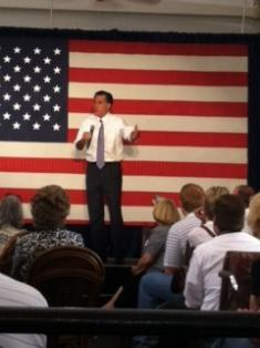 GOP Presidential candidate Mitt Romney speaks to a crowd of supporters Thursday in Omaha.