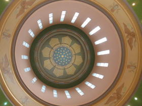 The view looking straight up into the interior of the Oregon state capitol rotunda.